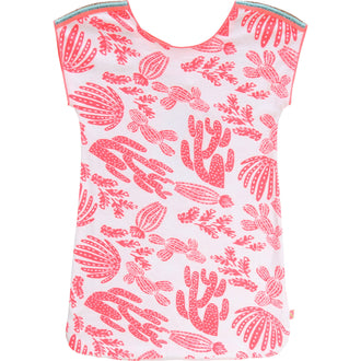Neon Pink Cactus Print Terry Coverup