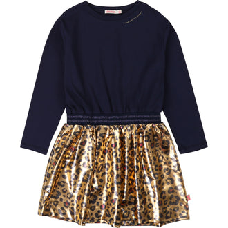 Navy/Gold Dress with Leopard Bottom