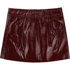 Burgundy Pleather Mini Skirt