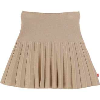 Gold Knitted Glitter Pleated Skirt