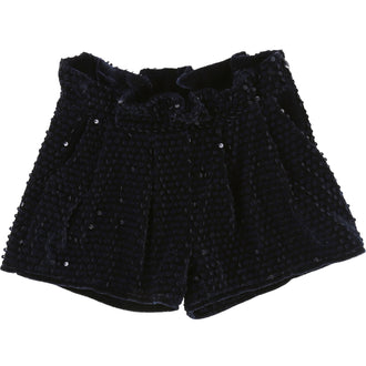 Indigo Blue Sequin Velvet Shorts