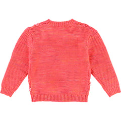 Rose Fluo Diamond Pattern Sweater