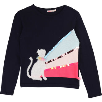 Navy Kitty Sweater