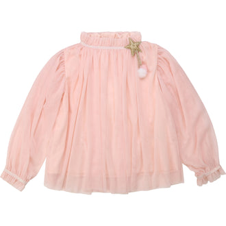 Pink Blouse with Gathered Sleeves