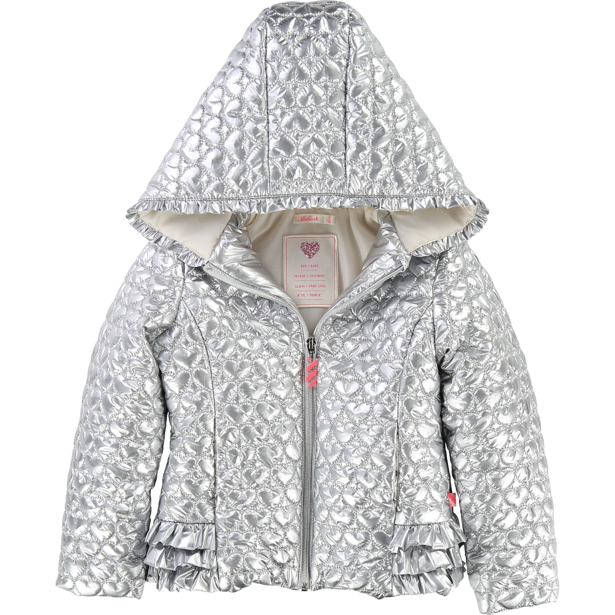 d13b93447848 Metallic Silver Heart Quilted Jacket – The Red Balloon