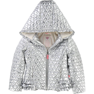Metallic Silver Heart Quilted Jacket
