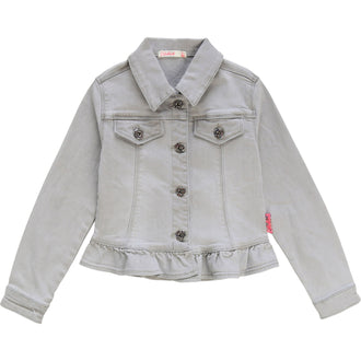 Grey Denim Ruffle Jacket