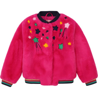 Fuchsia Faux Fur Jacket with Star Embroidery
