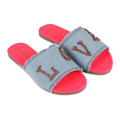 "Chambray ""Love"" Patch Slides"