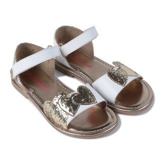 White Sandal With Gold Hearts