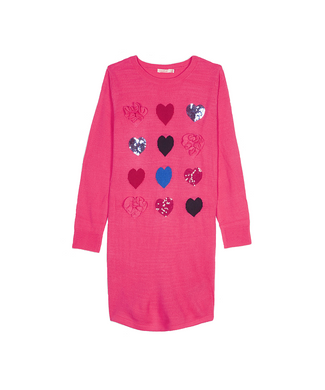 Hot Pink Jaquard Heart Dress