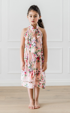 Multi Flower Print Bow Dress