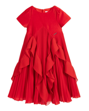 Red Velvet Pleated Dress