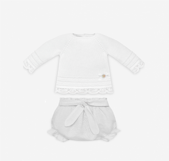White Vida Lace Trim Knit Bloomer Ensemble