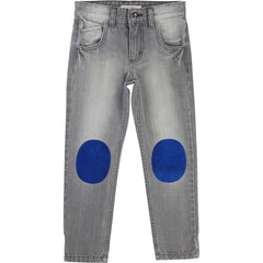 Grey Jeans With Blue Patch