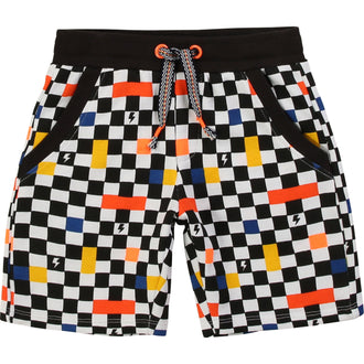 French Terry Checkered Shorts