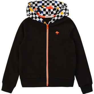 Grey Zipup With Checkered Hood