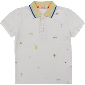 White Polo With Color Detail