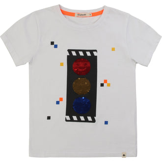 White Flip Sequin Traffic Light Tee