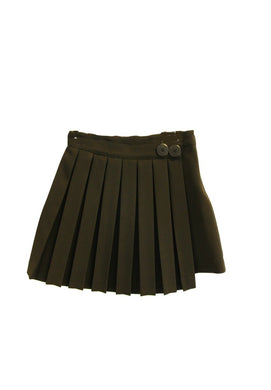 Black Wrap Pleated Skirt