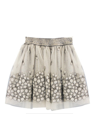 Grey Tulle Skirt with Dots