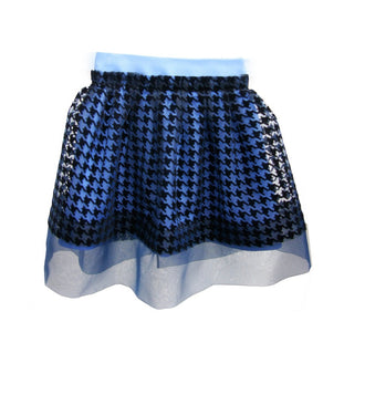 Blue Organza Houndstooth Skirt