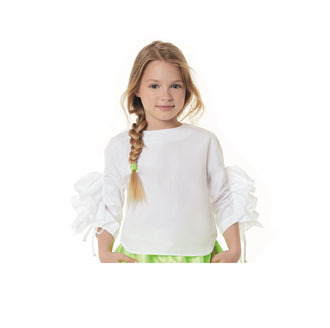White Blouse with Ruffle On Sleeve