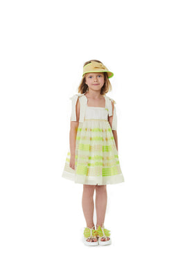 Organza Dress with Neon Embroidery