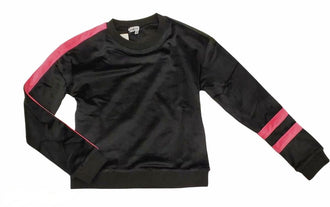 Black Velour Top with Pink Stripe