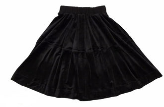 Black Tiered Velour Skirt