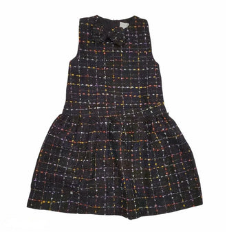 Multicolor Tweed Dress with Bow