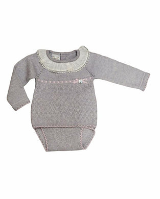Flora Grey Knit Bloomer Set