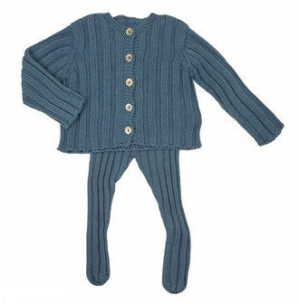 Blue Ribbed Cardigan Set