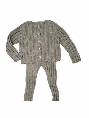 Grey Ribbed Cardigan Set