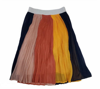 Multicolored Knife Pleat Midi Skirt