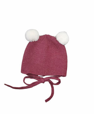 Esencial Burgundy Knit Double Pom Pom Hat