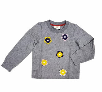Grey Top with Logo Flowers