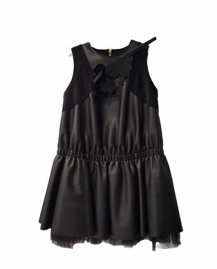 Black Pleather Drop Waist Dress