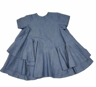 Blue Assymetric Ruffle Dress