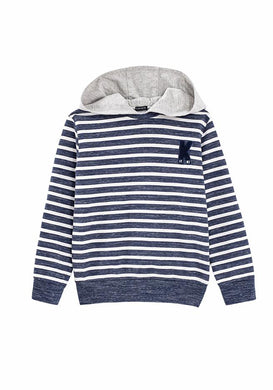 Ocean Navy Striped Hooded Top