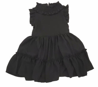 Baobab Black Crepe Tiered Dress