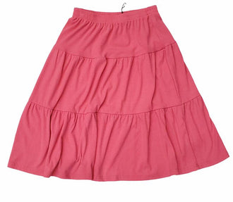 Pink Tiered Ribbed Skirt