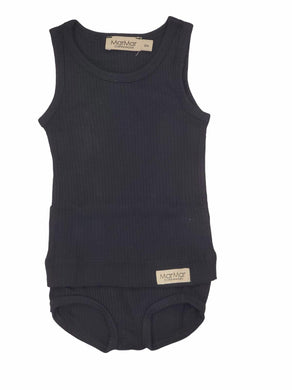 Black Ribbed Bloomer Set
