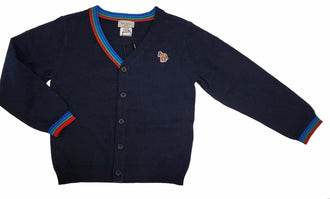Navy Logo Stripe Cardigan