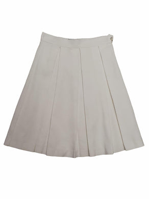 Ivory Pique Pleat Skirt
