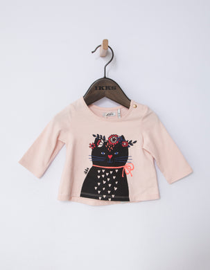 Rock Pink Cat Graphic Top