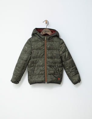 Military Green Reversible Puffer Jacket