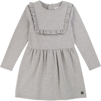 Grey Dress With Ruffle Bib