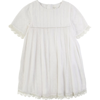 White Swiss Dott Dress With Pleats