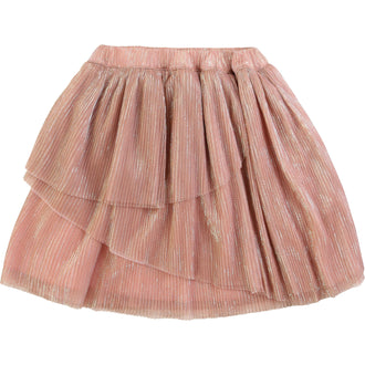 Rose Gold Tiered Pleated Skirt